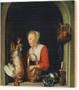 The Dutch Housewife Or The Woman Hanging A Cockerel In The Window 1650 Wood Print