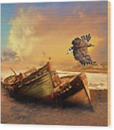 The Eagle And The Boat Wood Print