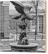 The Eagle - Widener University In Black And White Wood Print