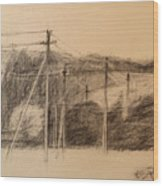 The Edge Of The Village Wood Print