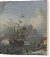 The Eendracht And A Fleet Of Dutch Men Of War Wood Print