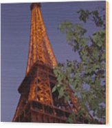 The Eiffel Tower Aglow Wood Print