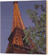 The Eiffel Tower Aglow Wood Print