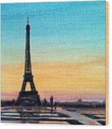 The Eiffel Tower At Sunset Wood Print
