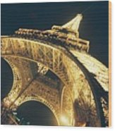 The Eiffel Tower By Night Wood Print