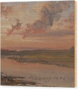 The Elbe In Evening Light Wood Print