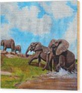 The Elephants Rise Wood Print