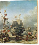 The Embarkation Of Ruyter And William De Witt In 1667 Wood Print