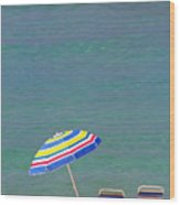 The Emerald Coast With Beach Chairs Wood Print