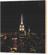 The Empire States At Night Wood Print