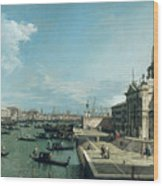 The Entrance To The Grand Canal And The Church Of Santa Maria Della Salute Wood Print by Canaletto