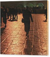 The Entrance To The Western Wall At Night Wood Print