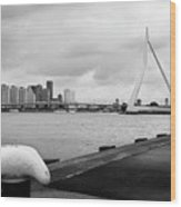 The Erasmus Bridge In Rotterdam Bw Wood Print