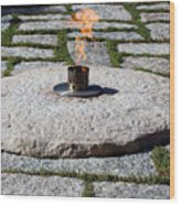 The Eternal Flame At President John F. Kennedy's Grave Wood Print