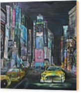 The Evening Of Time Square Wood Print