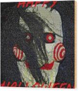 The Face Halloween Card Wood Print