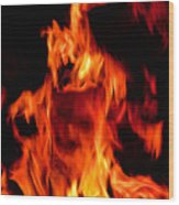 The Face Of Fire Wood Print