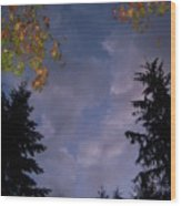 The Fall Evening Sky Wood Print