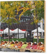 The Fall Harvest Is In Kendall Square Farmers Market Foliage Wood Print