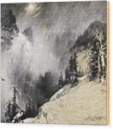 The Falling Flakes Mountain Scene. Yosemite A Mountain Snowfall Wood Print