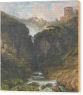 The Falls Of Tivoli With The Temple Of Vesta  Wood Print