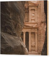 The Famous Treasury With A Camel Wood Print by Taylor S. Kennedy