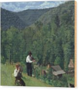 The Farmer And His Son At Harvesting Wood Print