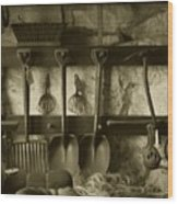 The Farmer's Toolshed Wood Print