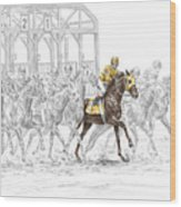 The Favorite - Thoroughbred Race Print Color Tinted Wood Print
