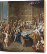 The Feast Of Dido And Aeneas. An Allegorical Portrait Of The Family Of The Duc And Duchesse Du Maine Wood Print