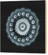 The Feather And Beadwork Of Flower - Blue Wood Print by Jacqueline Migell