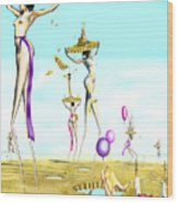 The Female Deity Sending Out Her Minions To Gather Male Religious Symbols One Wood Print