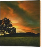 The Fire On The Skies Wood Print