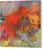 The Firecat Wood Print