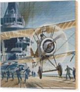 The First Deck Landing Wood Print