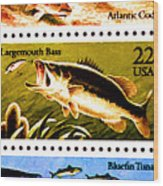 The Fish Stamps Wood Print by Lanjee Chee