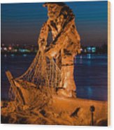 The Fisherman After Nightfall Wood Print
