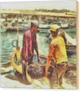 The Fishermen Wood Print