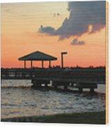 The Fishing Dock At Sunset Wood Print