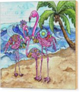 The Flamingo Family's Day At The Beach Wood Print