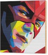The Flash Colorful Pop Art Wood Print