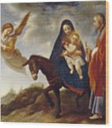 The Flight Into Egypt Wood Print by Carlo Dolci
