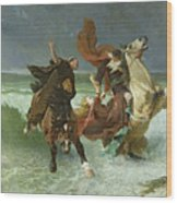 The Flight Of Gradlon Mawr Wood Print by Evariste Vital Luminais