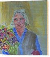 The Flower Lady Wood Print
