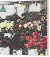 The Flower Market Wood Print