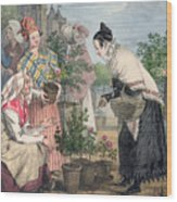 The Flower Market Wood Print
