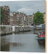 The Flowermarket Canal Wood Print