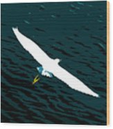 The Flying Egret Wood Print