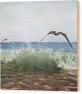 The Flying Instant Of Surf Wood Print