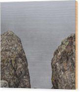 The Fog Through The Rocks Wood Print